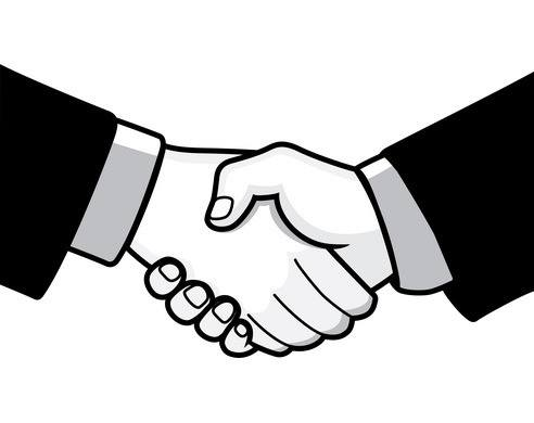 Two black and white hands shaking hands