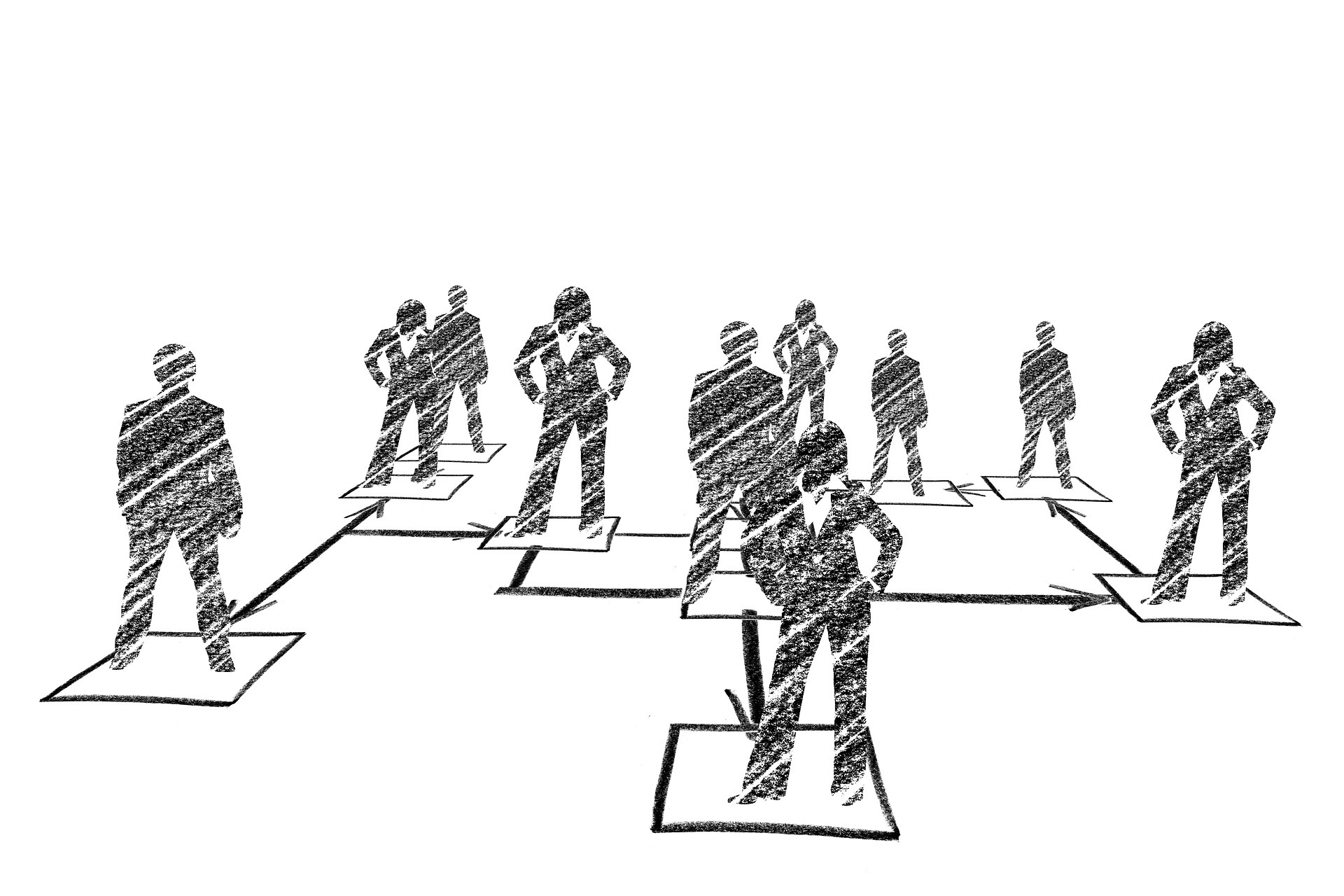 A sketch of people standing together