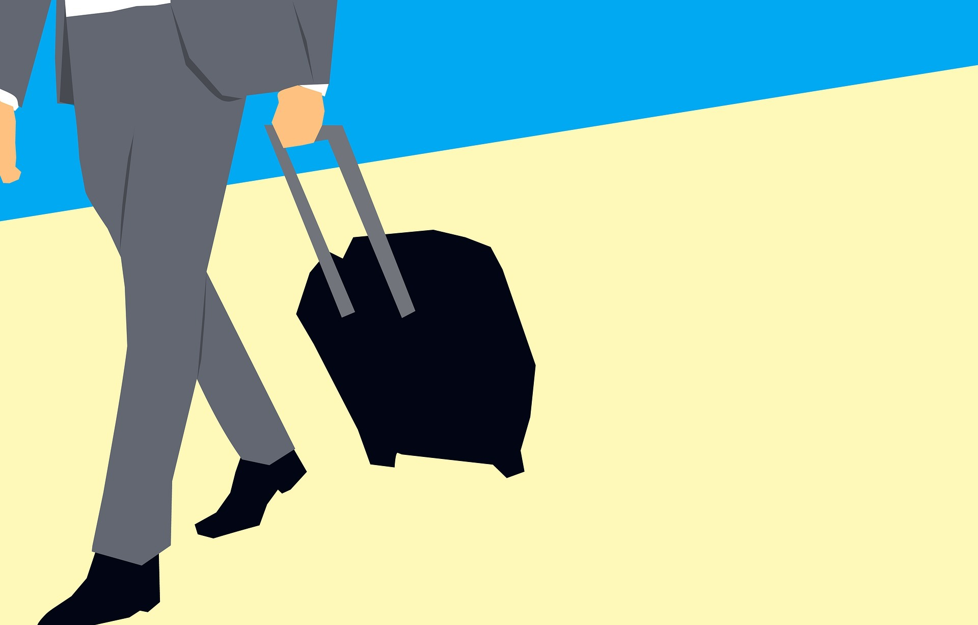 Shadow figure with a suitcase