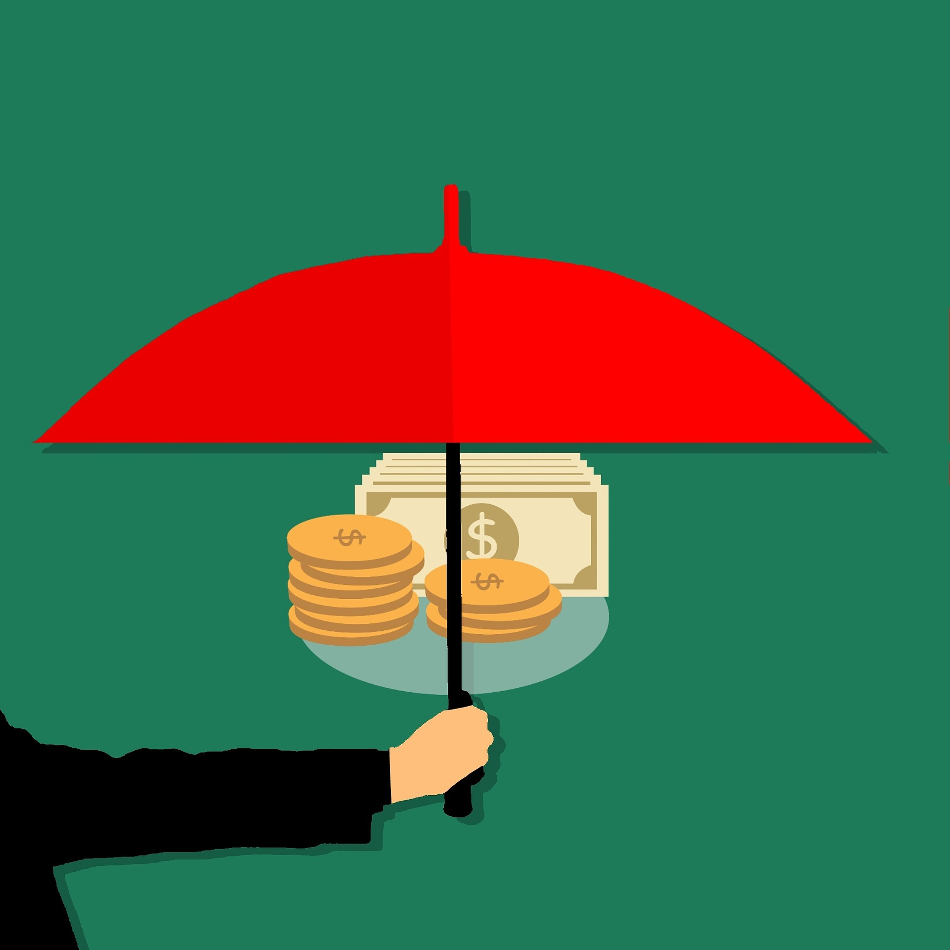 Red umbrella being held over a stack of money